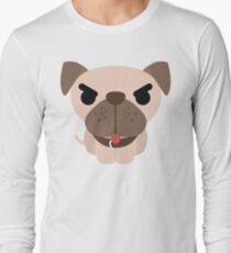 Pug Dog Emoji Angry and Mad Look Long Sleeve T-Shirt