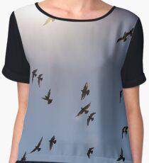 Flock of birds flying against blue sky Chiffon Top