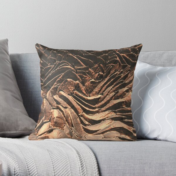 Macro Copper Abstract Throw Pillow