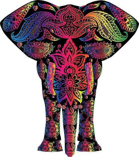 """""""bunter regenbogenelefant mandala"""" poster von safou"""