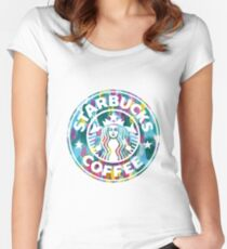 Painted Starbucks Logo Women's Fitted Scoop T-Shirt