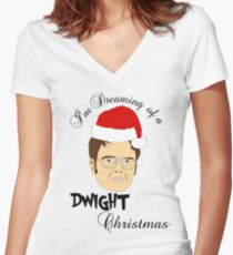 Dwight Christmas  Women's Fitted V-Neck T-Shirt