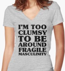 Too Clumsy Women's Fitted V-Neck T-Shirt