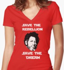 Rogue One - Save the Rebellion, Save the Dream Women's Fitted V-Neck T-Shirt