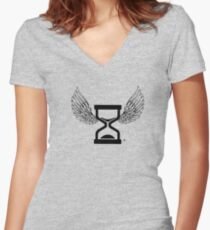 """""""Time Flys By"""" Angel and Wings T Shirt Women's Fitted V-Neck T-Shirt"""