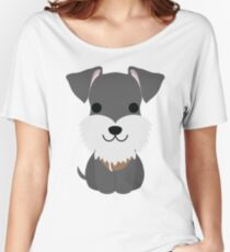 Schnauzer Dog Emoji Happy Smiling Face Women's Relaxed Fit T-Shirt