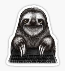 Sloth with laptop Sticker