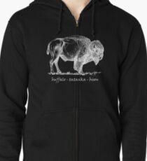 Buffalo Tatanka Bison Sketch Zipped Hoodie