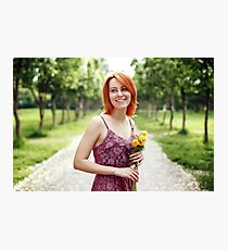 Portrait of Beautiful Young Red Heair Woman Photographic Print