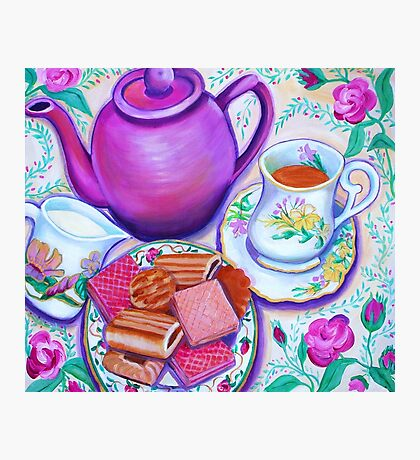 Pink Tea with Roses Photographic Print