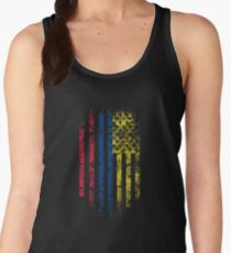 Colombia and America Flag Combo Distressed Design Women's Tank Top