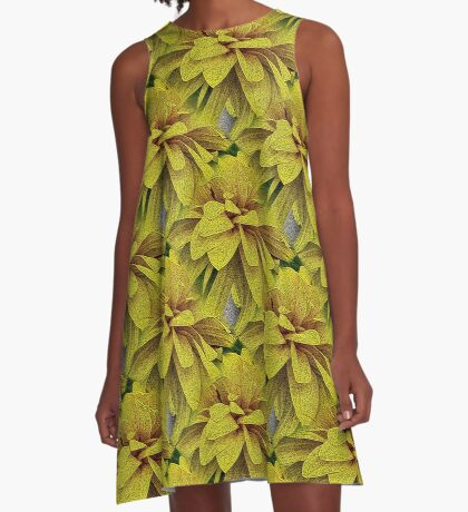 Yellow Flower Petals Nature Art A-Line Dress