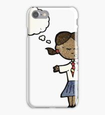 cartoon clever school girl iPhone Case/Skin