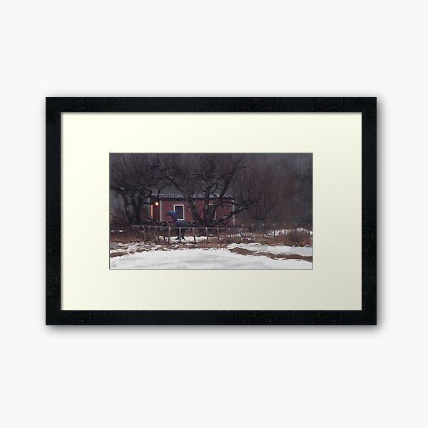 Fruktträdgård och Dromaeosaur Framed Art Print