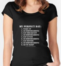 My Perfect Day: Go Bodyboarding - White Text Women's Fitted Scoop T-Shirt