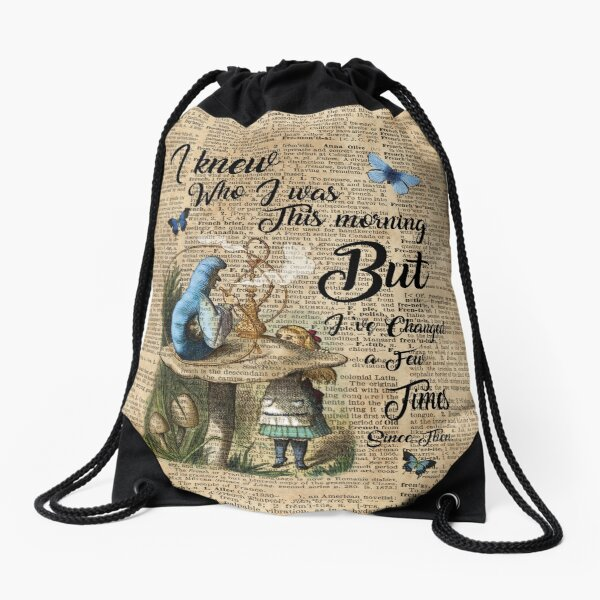 """Alice in Wonderland Quote Vintage Dictionary Art """"I've changed few times..."""" Drawstring Bag"""