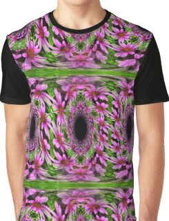 Swirling Pink Daisy Flowers Abstract Design Graphic T-Shirt