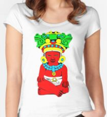 Sitting Indian Women's Fitted Scoop T-Shirt