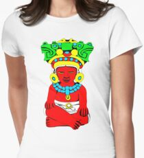 Sitting Indian Women's Fitted T-Shirt