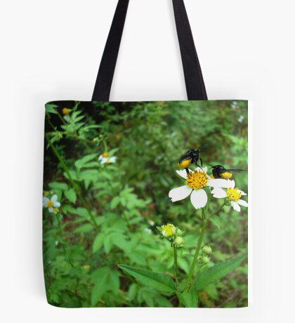 BLACK BEES WITH BUSTLES Tote Bag