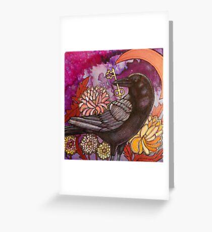 Crow and Key Greeting Card