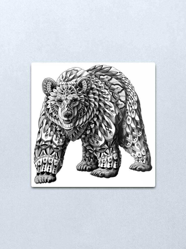 Alternate view of Ornate Bear Metal Print
