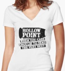Hollow Point Bullet Funny Women's Fitted V-Neck T-Shirt