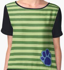 Steve Stripes w/ Paw Print Design Women's Chiffon Top
