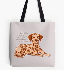 """""""Self-Care is Smart"""" Dalmatian Pup Tote Bag"""