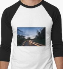 Lights on the asphalt, at sunset on a mountain road T-Shirt