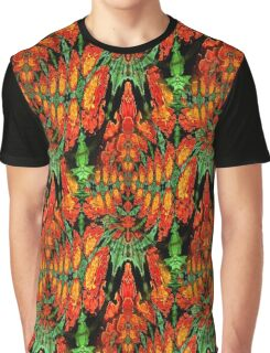 Orange Gold Green Abstract Flower Design Graphic T-Shirt