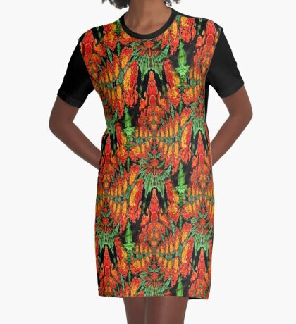 Orange Gold Green Abstract Flower Design Graphic T-Shirt Dress