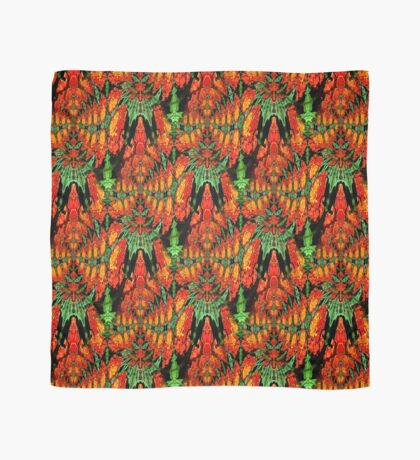 Orange Gold Green Abstract Flower Design Scarf