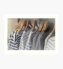 Striped Female Pullovers in a Clothing Store Art Print