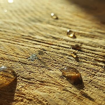 Droplets on wood  by seriouslydaft