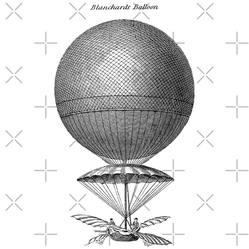 Quot Vintage Hot Air Balloon Blanchard Quot By Cartoon Redbubble