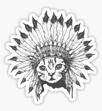 Indian Chief Cat Sticker