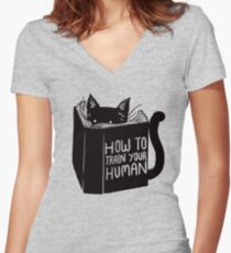 How To Train Your Human Women's Fitted V-Neck T-Shirt