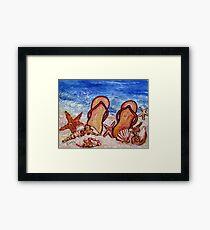 Flip Flops on the Beach Framed Print