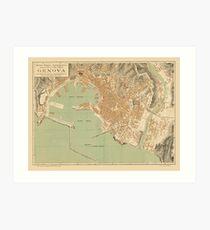Map Of Genoa 1910 Art Print