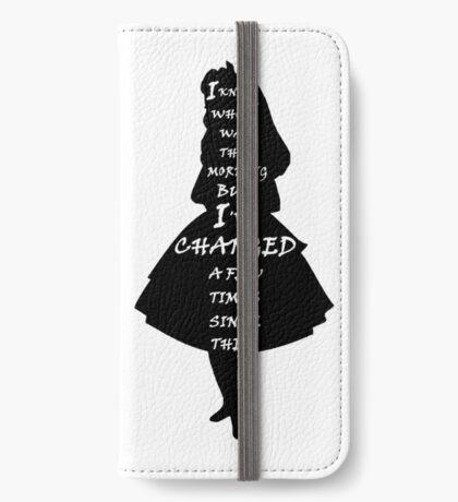 Alicia en el país de las maravillas - Cita - blanco y negro Funda tarjetero para iPhone