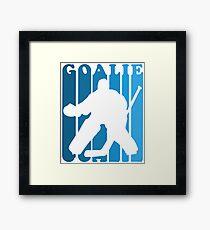 Retro 1980's Style Hockey Goalie Silhouette T-Shirt Goalie Hockey Sport  Framed Print