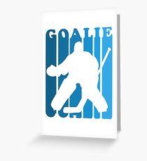 Retro 1980's Style Hockey Goalie Silhouette T-Shirt Goalie Hockey Sport  Greeting Card