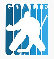 Retro 1980's Style Hockey Goalie Silhouette T-Shirt Goalie Hockey Sport  Photographic Print