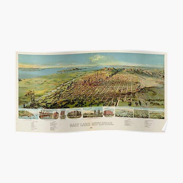 Map Of Salt Lake City 1891 Poster