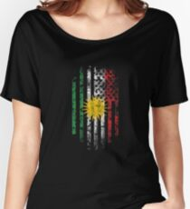 Kurdish and America Flag Combo Distressed Design Women's Relaxed Fit T-Shirt