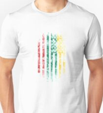 Lithuania and America Flag Combo Distressed Design T-Shirt
