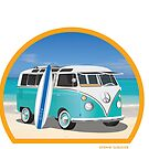 Split Window VW Bus Surfer Van on Beach Round by Frank Schuster