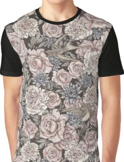 Flowers & Swallows Graphic T-Shirt