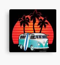 Split Window VW Bus Surfer Van with Palms Canvas Print